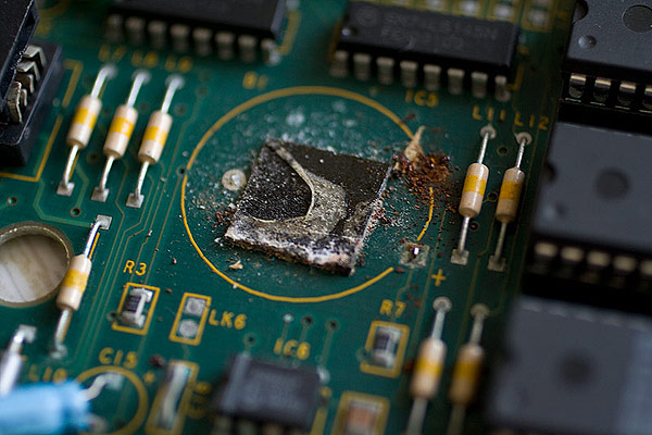 PCB corrosion and damage due to battery leakage