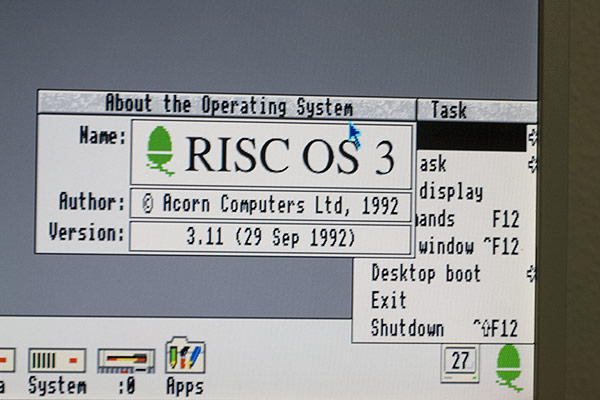 The desktop of the ARM3 A3010 with RISC OS 3.11