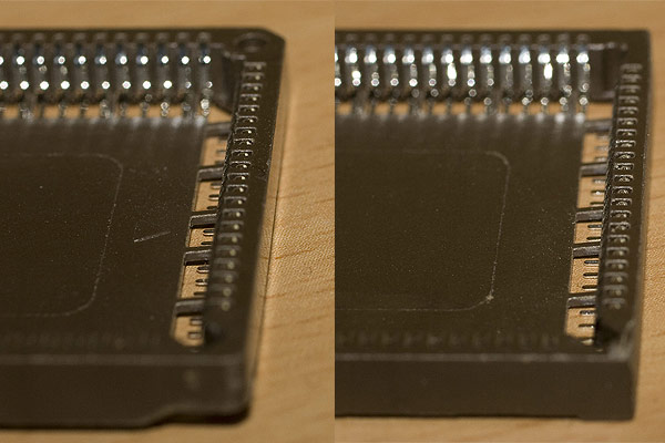 A comparison of the two edges of the socket showing one edge filed down to make it fit