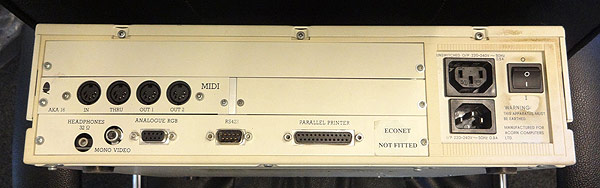 Acorn BBC Archimedes A310 rear view with AKA16 MIDI Podule fitted
