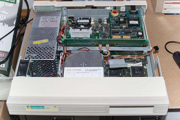 Removal of the floppy disc drive that covers the ARM2 chip