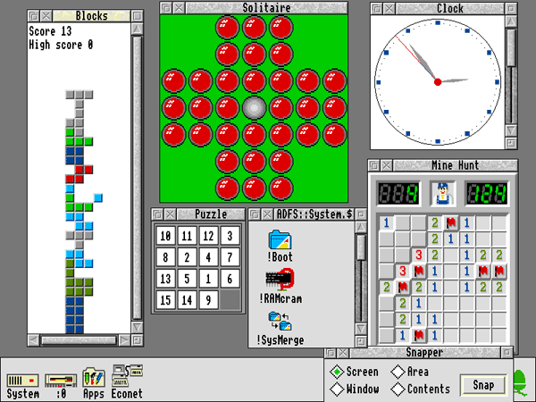 A screenshot of the Archimedes A410/1 displaying 16 colour 800x600 VGA resolution