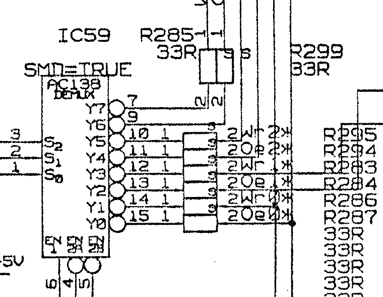 The RAM control line schematic for an Acorn A5000
