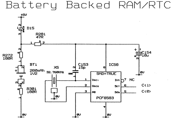 The Acorn A5000 Battery Backed RAM and RTC schematic