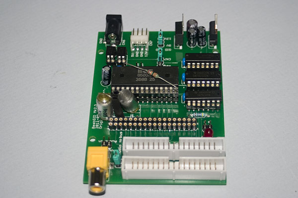 BeebSID - board completed and the SID chip fitted