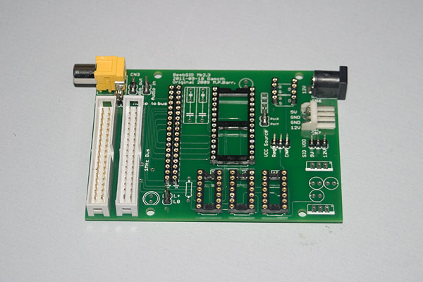 BeebSID - Sockets and headers fitted to the board