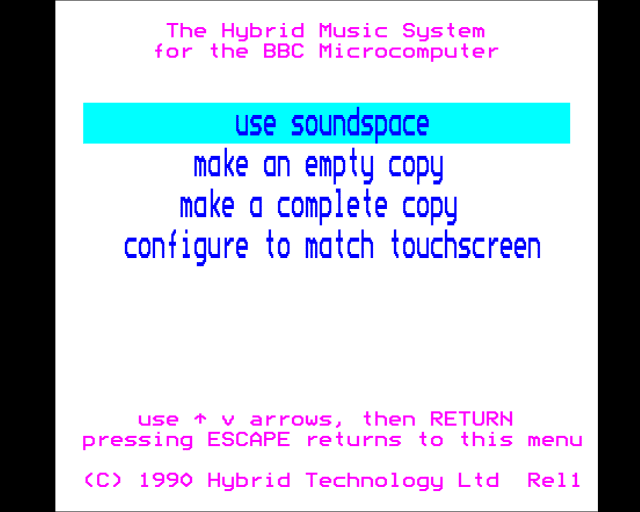 Sound Space for the Hybrid Music System and Microvitec Touchtech 501