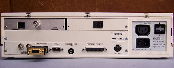 The rear of the A410/1 showing the standard ports, EtherLAN 500 connections and VIDC Enhancer manual override.