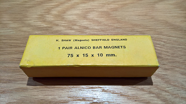 Alnico bar magnets manufactured by H Shaw of Sheffield