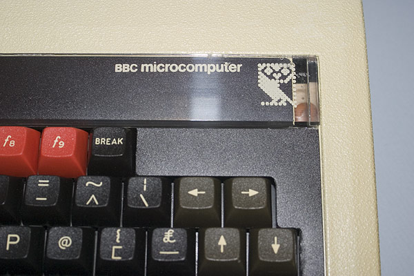 A detail shot of the BBC Microcomputer branding