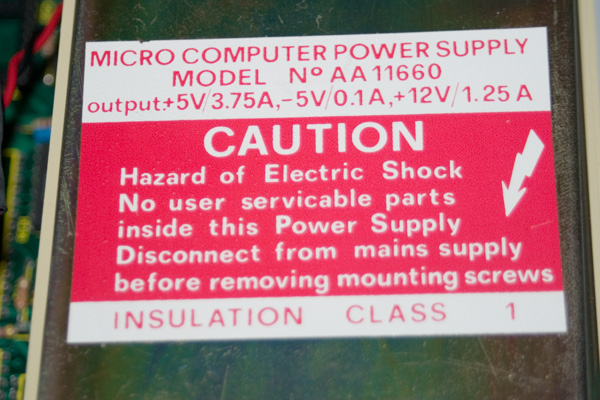 High Voltage warning on the BBC Micro power supply