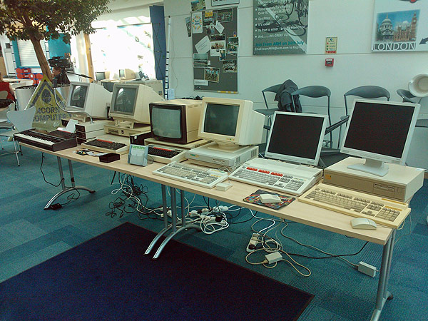 A shot of all the machines configured and plugged in but as yet untested