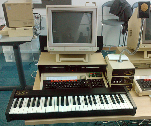 The BBC Master 128 with IFEL ROM/RAM card running the SoundStage software for the Hybrid Music system.