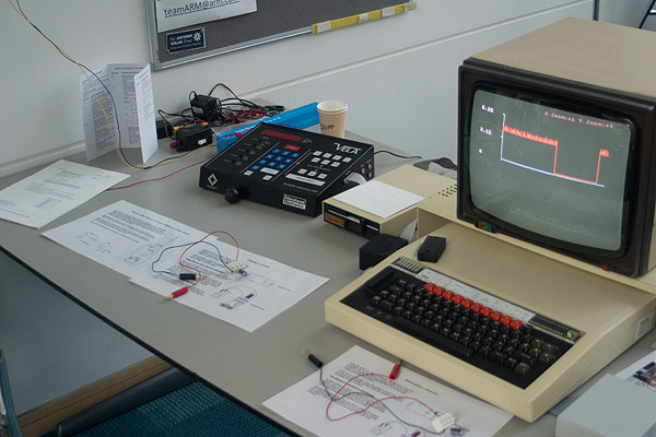 The VELA and BBC Micro displaying a graph whilst several experiments are on display