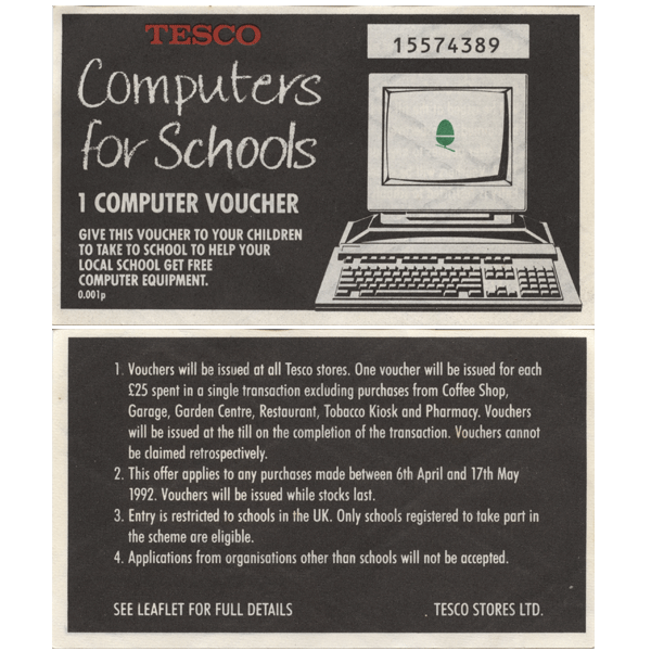 A Computer For Schools voucher dating back to 1992