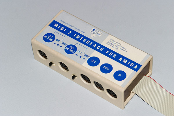 The Trilogic MIDI2 MIDI interface connected to the serial port of the Amiga