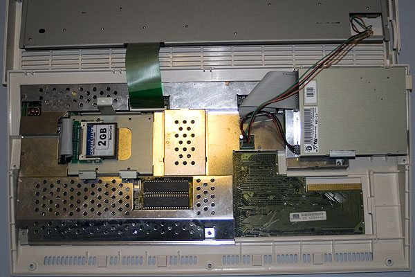 The Amiga 1200 with the top cover removed