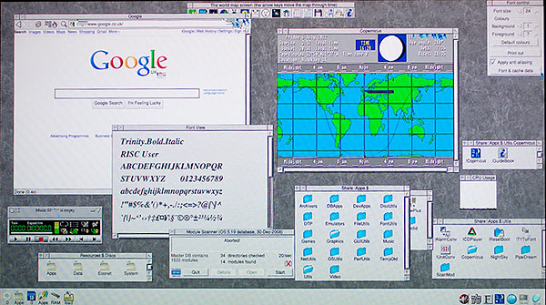 The pre-alpha RISC OS 5 desktop running on the Raspberry Pi