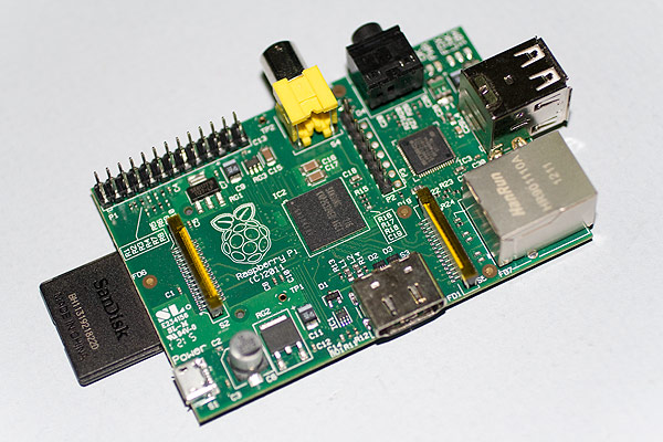 The Raspberry Pi with SD card fitted