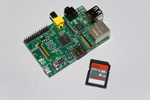 The Raspberry Pi and 4GB SanDisk Ultra card