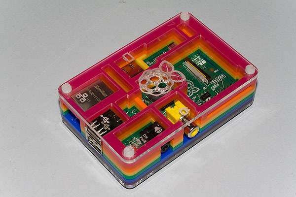 The Raspberry Pi in a Pibow case