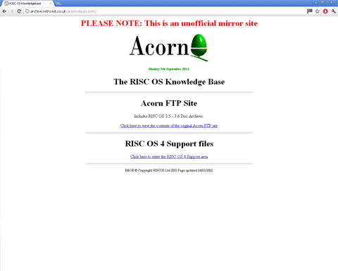 Screenshot of the Acorn FTP unofficial mirror site