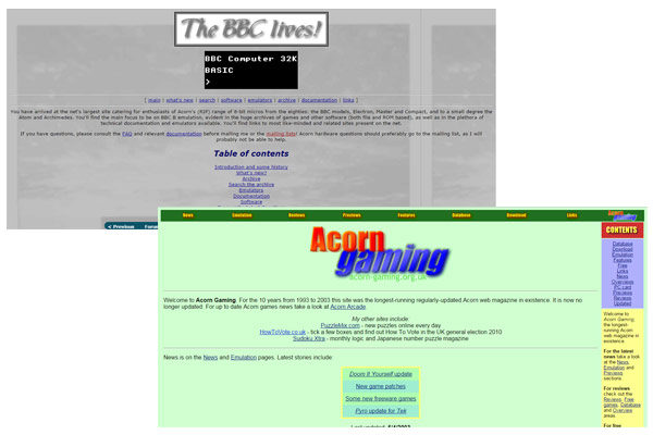 The BBC Lives! and Acorn Gaming websites